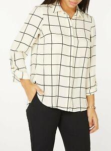 8245e86c7e Dorothy Perkins - Cream Checked Print Tab Roll Sleeve Blouse Top Uk ...