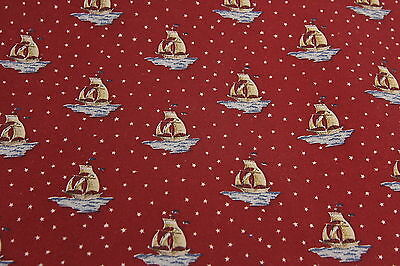 "Clipper Ship Print Cotton Fabric 2 1/8 Yards x 42"" Wide Rust Color & Ivory Stars"