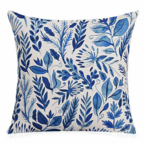 Cotton Linen Pastoral Plants Office Cushion Cover Pillow Case Home Decoration
