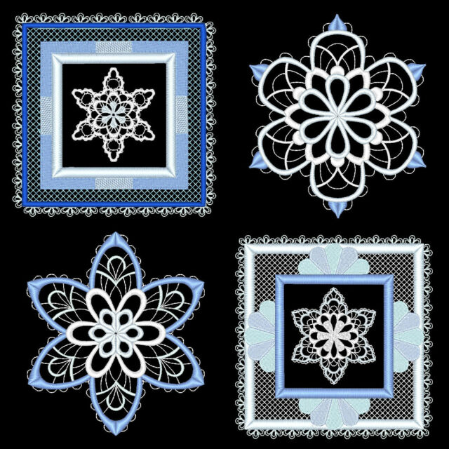 SNOWFLAKES & SNOWFLAKE QUILT BLOCKS - 72 MACHINE EMBROIDERY DESIGNS (AZEB)
