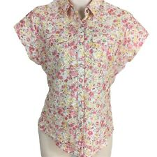 Wrangler Womens Xl Pink Floral Textured Pearl Snap Stretchy Cap Sleeve Top
