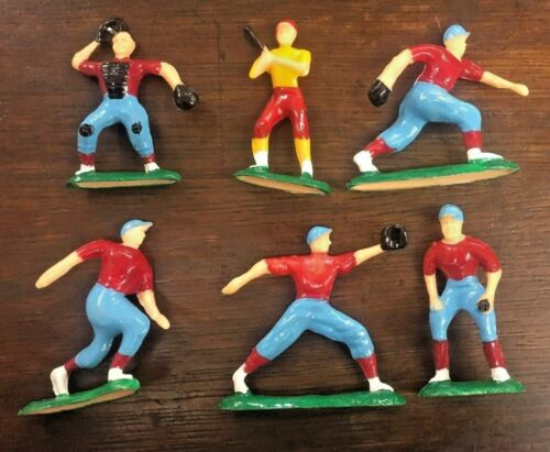 """Vintage 2-3//4/"""" High BASEBALL Player CAKE TOPPERS Plastic Figures Set Of 6-70s"""