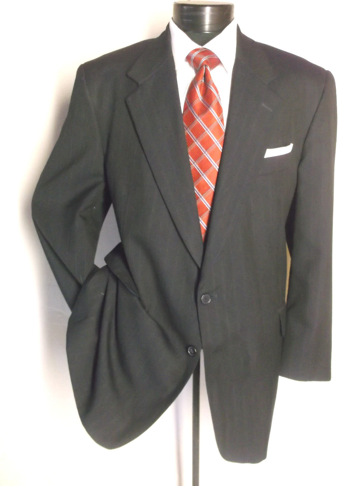 Amzing Italian 2PC Suit Navy bluee Striped 2 Button 46R Pants 44  x 28