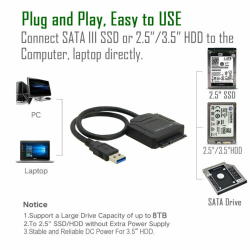 "USB 3.0 to SATA III Adapter for 2.5/"" 3.5/"" SDD HDD Hard Drives with 12V//2A Power"