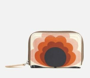 61182993d1d4b ORLA KIELY SUMMER FLOWER STEM MEDIUM ZIP WALLET SUNSET ORANGE BNWT ...