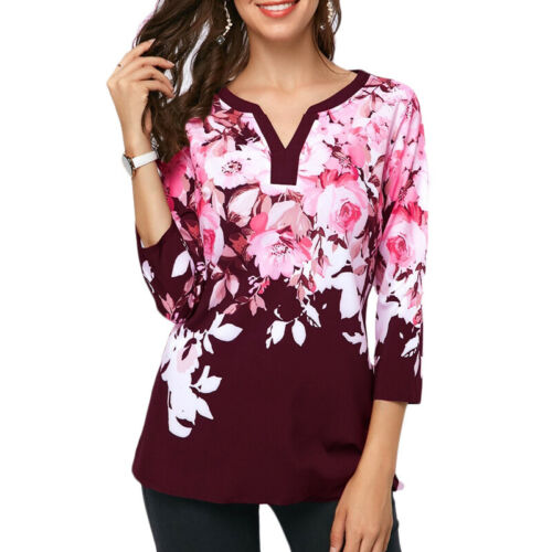Plus Womens 3//4 Sleeve Floral Print Tops Boho Tunic Casual T-Shirt Loose Blouse