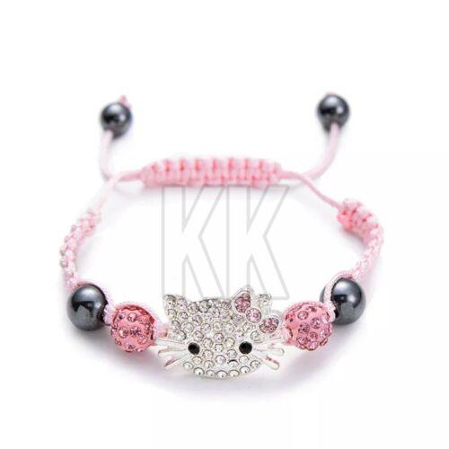 Cute Children Silver sterling Cat Bracelet for Kids Girls Boys Crystal Beads uk
