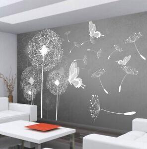Carta Da Parati Murales.Fotomurale Carta Da Parati Soffioni Murales Tarassaco Dente Leone Farfalle Ebay