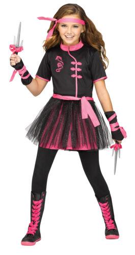 Ninja Miss Child Little Girls Costume Black And Pink Fancy Dress Funworld