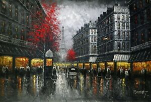 Paris-Cityscape-Black-White-Texture-Signed-Original-Oil-Painting-On-Canvas