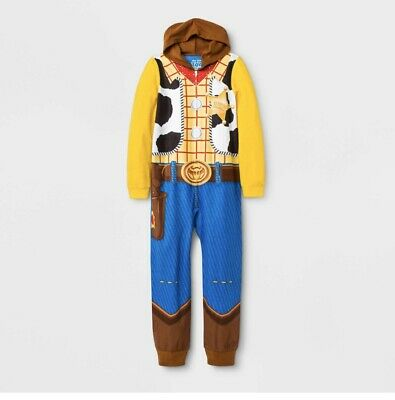 New Toy Story 4 Disney Woody Hooded Hoodie Fleece Union Suit Boys Pajamas S M L