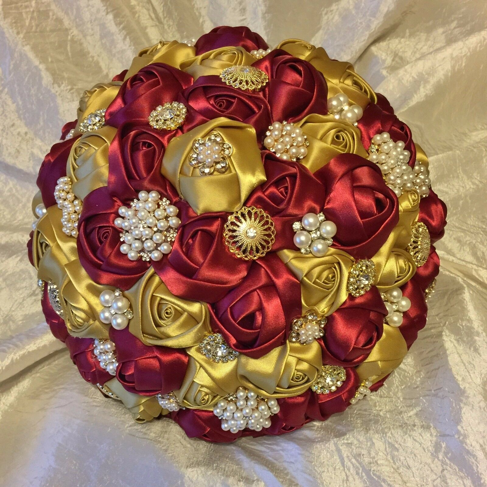 Handmade BOURGOGNE VIN OR ROSES broches Mariées Mariage Bouquet, Indian, Asian
