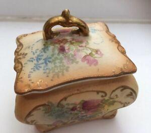 Vintage-Porcelain-Trinket-Dish-7x7-Cm-Peach-Floral