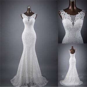 New-White-Ivory-Mermaid-Wedding-Dress-Bridal-Gown-Stock-Size-6-8-10-12-14-16-18