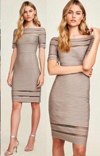 Tadashi Shoji Kelly Off Shoulder Illusion Pumice Banded Pintuck Jersey Dress