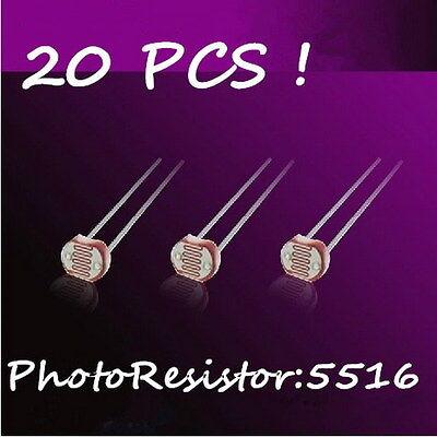 20Pcs Light Sensitive Inductor  Photo Resistor Photoresistor 5516 GL5516 NT00183