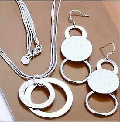 Xmas GIFT 925Solid Silver Jewelry Sets Earrings/Necklace/Bracelet + Gift Box