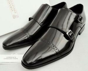 Us11 Uk10 Shoes Versace 44 Rrp445gbp Brogues Collection Black Leather XBwxqHv0
