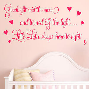 Personalised Goodnight Baby Girls Nursery Art Wall Quote Sticker