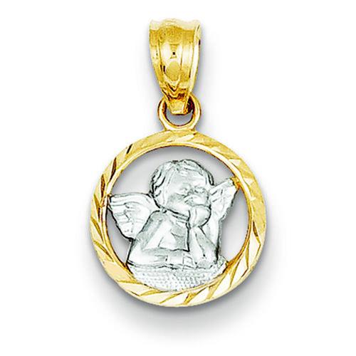 14K Two-Tone Gold Cherub in Circle Charm Pendant MSRP $108