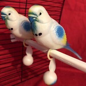"""2 X Bird Toy Plastique Perruches Une 7"""" Perche Pals Buddy Colorés Interactive Life Size-afficher Le Titre D'origine"""