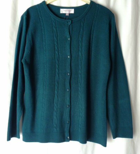 NEW LADIES SIZES 12-18 CREW NECK BUTTON UP SOFT 100/% ACRYLIC PATTERNED CARDIGAN