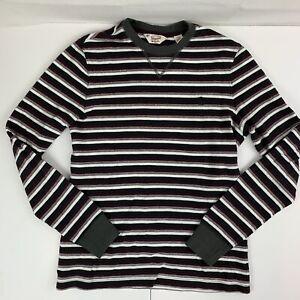 Penguin-Men-039-s-Long-Sleeve-Striped-Shirt-Gray-White-Purple-Crew-Neck-Cotton-Sz-M