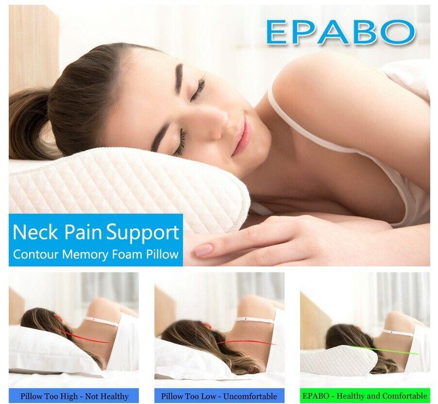 EPABO Contour Memory Foam Pillow Orthopedic Sleeping Pillows Firm Queen Size