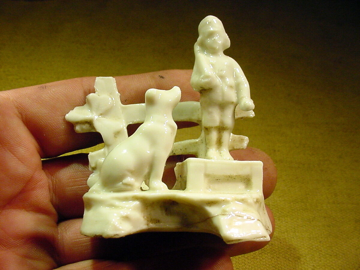 Dog and soldier figurine age age age 1890 feve excavated Limbach German Art. 8554 37f445