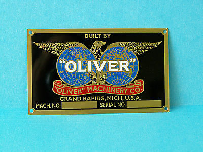 Motor Nameplate with cloth parts bag OLIVER  MACHINERY