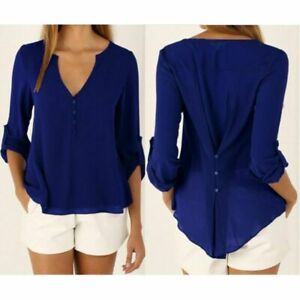 Women-039-s-Fashion-Ladies-Summer-Loose-Chiffon-Tops-Sleeve-Long-Shirt-Casual-Blouse