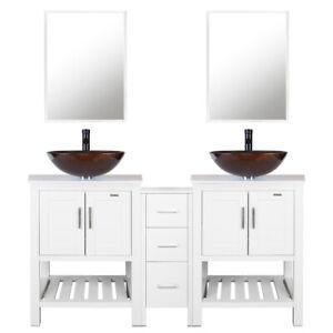 60-034-Bathroom-Vanity-Mirror-W-Glass-Vessel-Sink-Set-Faucet-W-Drain-Combo-White