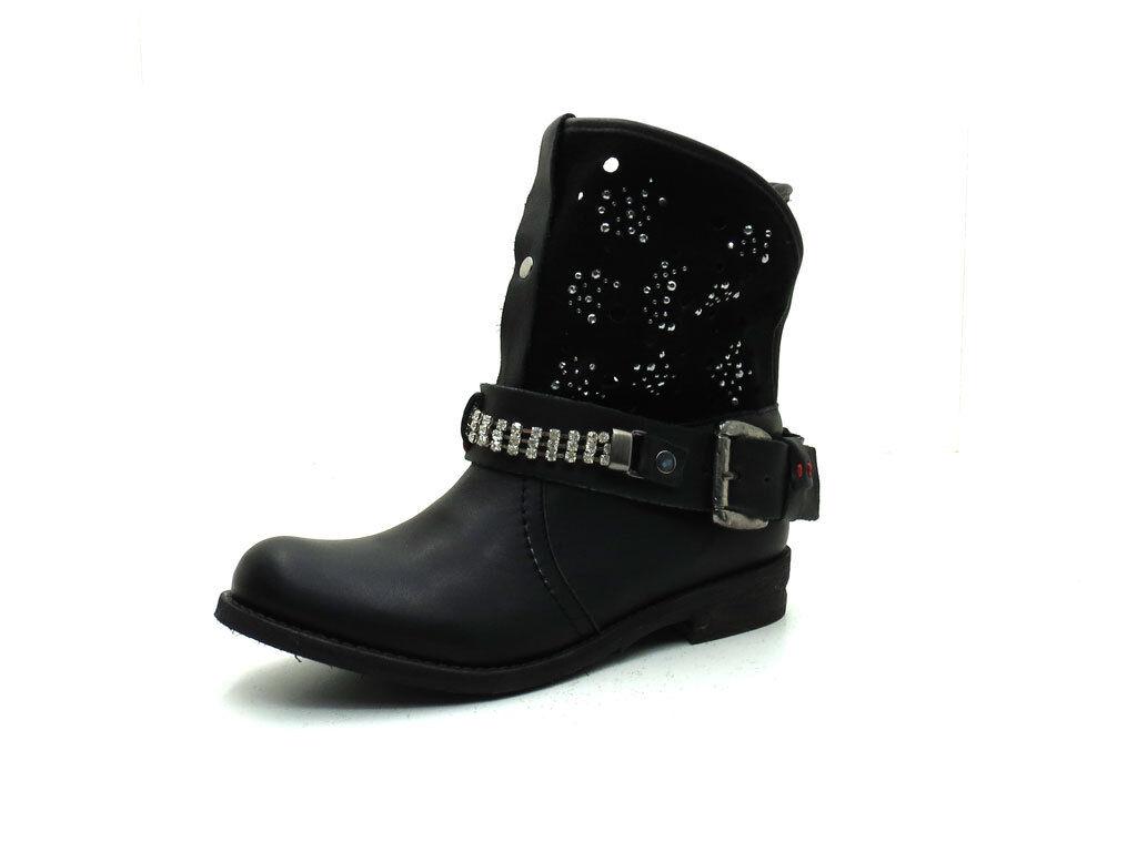 Grandes zapatos con descuento P. Franklin Botines Biker Botas de mujer de 604 BLACK