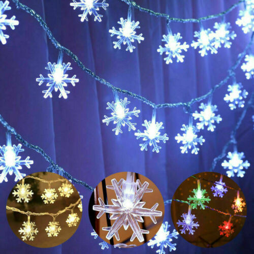 Waterproof Christmas LED Snowflake String Fairy Lights Curtain Window Xmas Decor