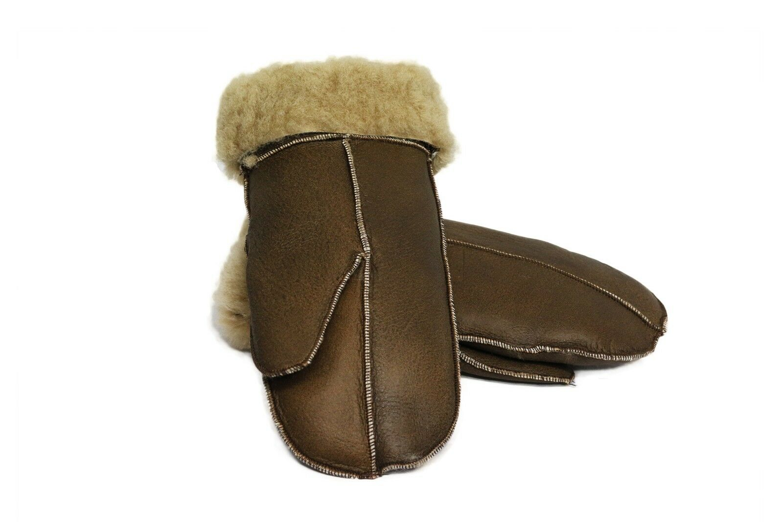 Unisex Soft Thick 100% Genuine Sheepskin Leather Mittens Ideal For Winter