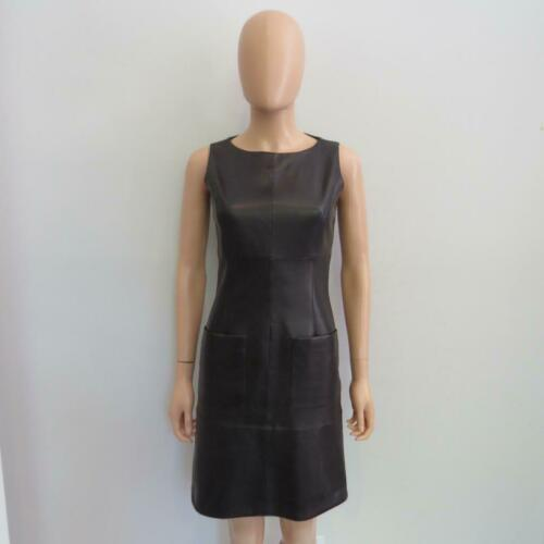 Chanel Black Leather Sleeveless Dress w/Front Pock