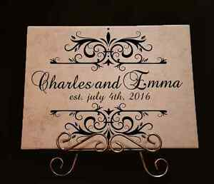Home Decor Anniversary Ceramic Gift Personalized Decorative Tiles with Stand