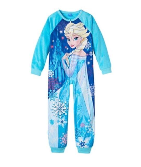 Disney s Frozen Elsa Girls Size 4 6 8 10 One-Piece NON Footed Pajamas Pjs 35fc1c474