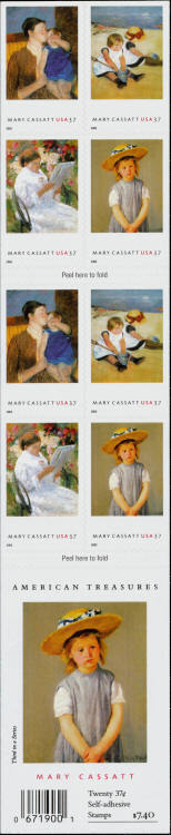 2003 37c Mary Cassatt Paintings, Booklet of 20 Scott 38