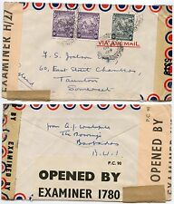 BARBADOS WW2 TRIPLE CENSORED 1943 AIRMAIL to GB 2 x 6d + 4d
