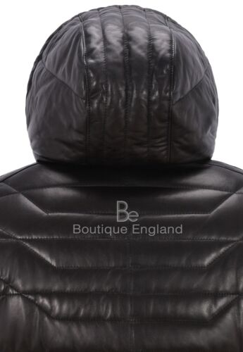 Men/'s Puffer Hooded Real Lambskin Napa Leather Sport Jacket Fully Quilted 2006