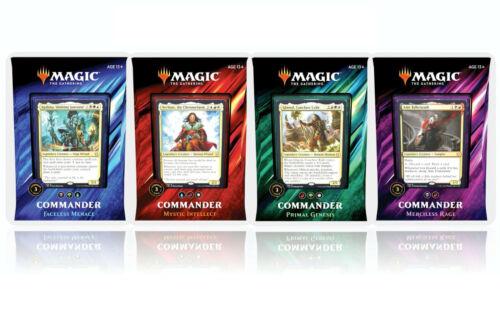 4 MAGIC THE GATHERING CCG WOTC 2019 Commander Cards Deck Set
