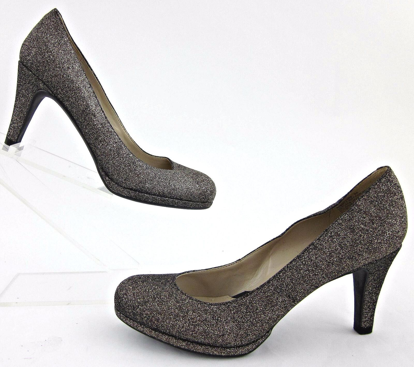 NEW Naturalizer 'Lennox' Round Toe Dress Pumps Platinum Glitter Leather 6B
