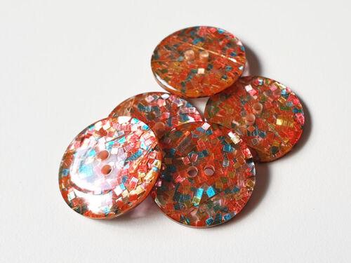 5 hübsch bunt glitzernde Kunststoffknöpfe in Rottönen k148bu