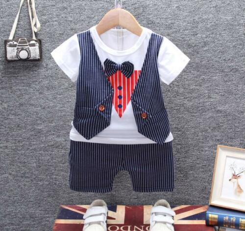 2PCS Toddler Baby boys summer Clothes Tee /& short Pants party outfits gentleman
