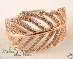 66e3f13be39d1 Details about LIGHT AS A FEATHER Authentic PANDORA ROSE GOLD Plated RING 6  (52) 180886CZ NIB!