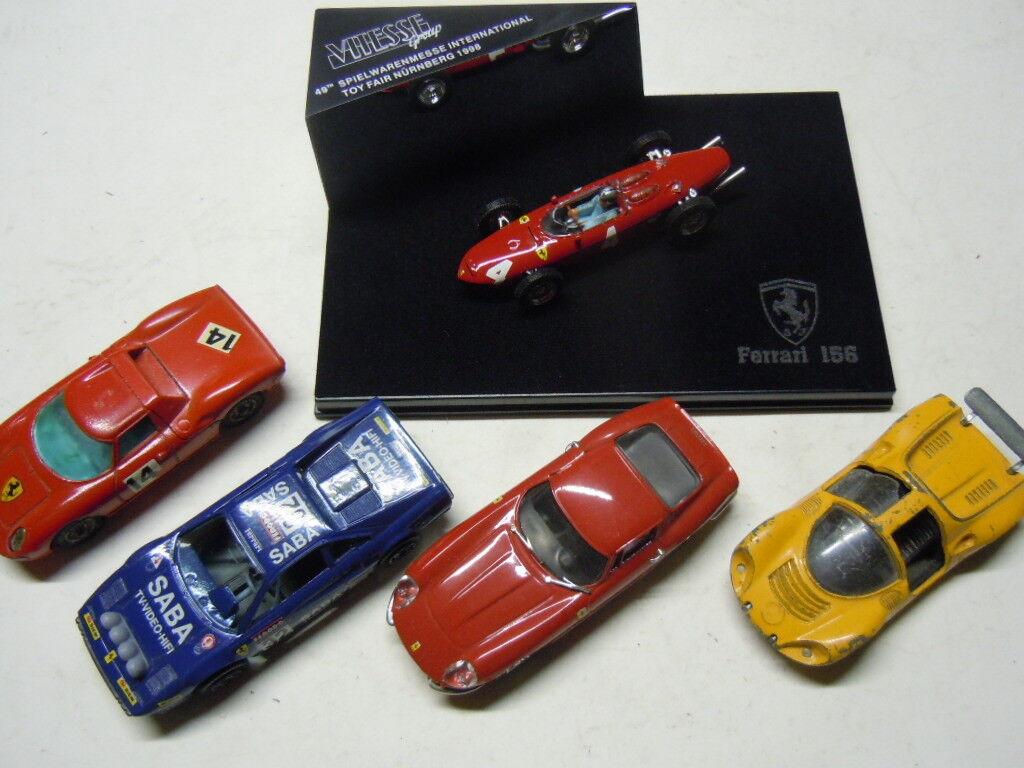 5 x RARE Ferrari modèles de vitesse, Bburago, CORGI TOYS, POLITOYS et Box 1 43