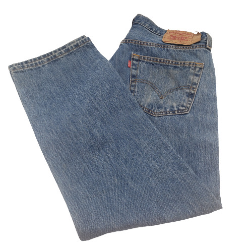 Levis 501 Button-Fly Mens 35x30 Well Worn Faded D… - image 1