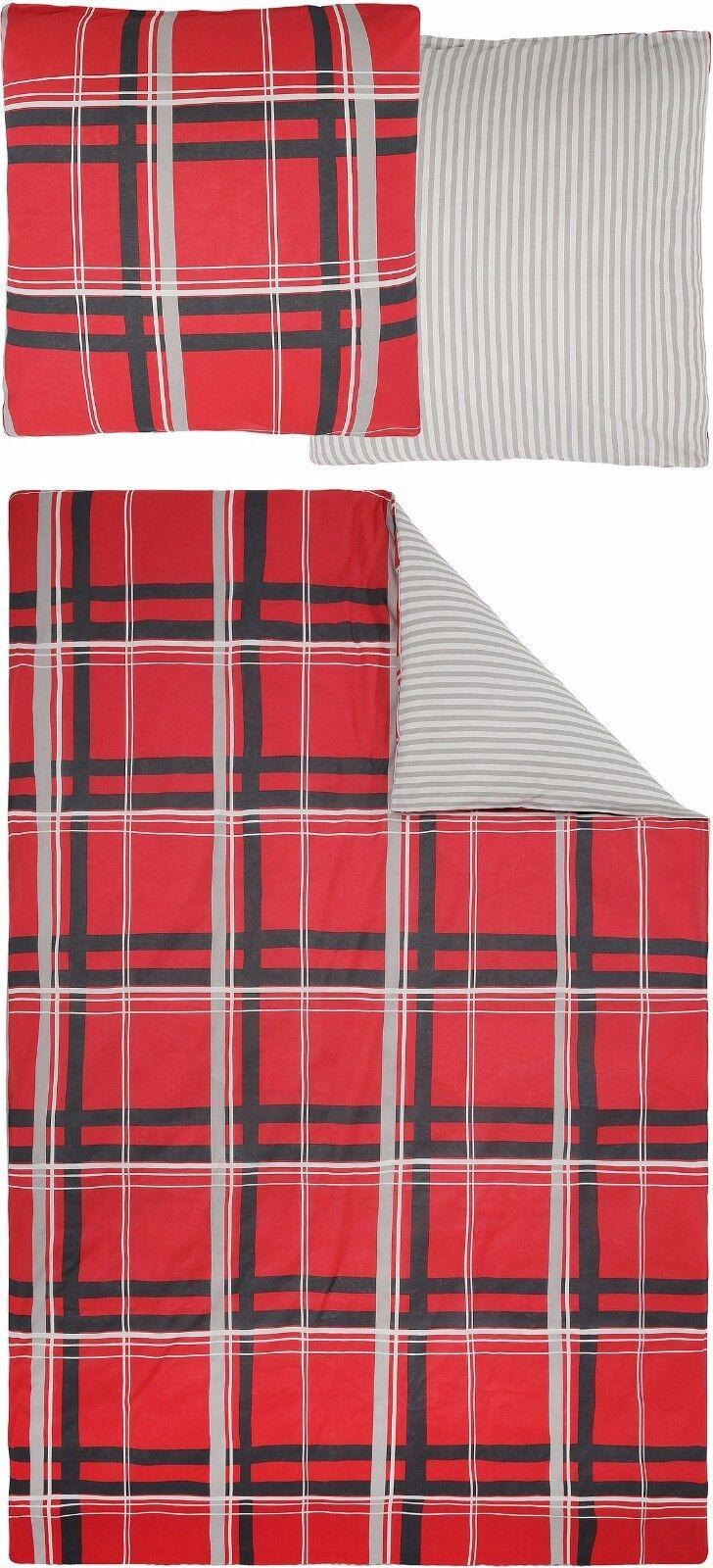 4 tlg. Marken BETTWÄSCHE H.I.S. Polykotton Karos Streifen rot grau 155x220 LN 77