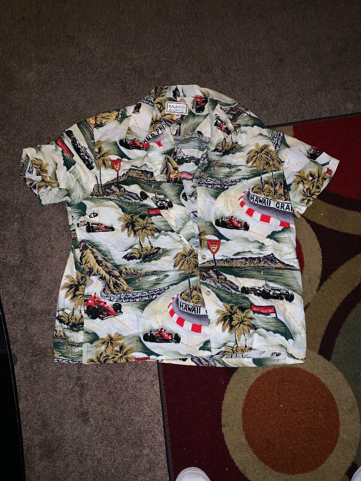 Kalaheo Men's Hawaiian Tropical Grand Prix Cars Buttoned  Shirt Size XL Made Usa